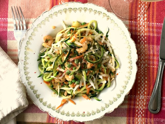 Shrimp Spaghetti with Zucchini Noodles and Whole Wheat Pasta