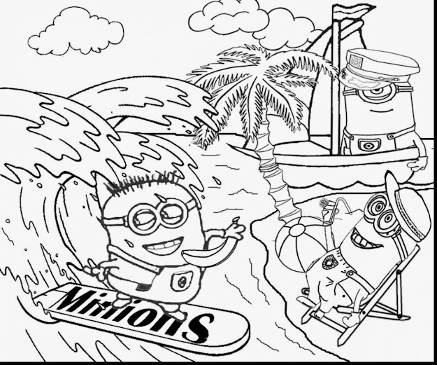 Brilliant Minion Beach Coloring Pages With Despicable Me Coloring Pages And Despicable  Me  Coloring Pages