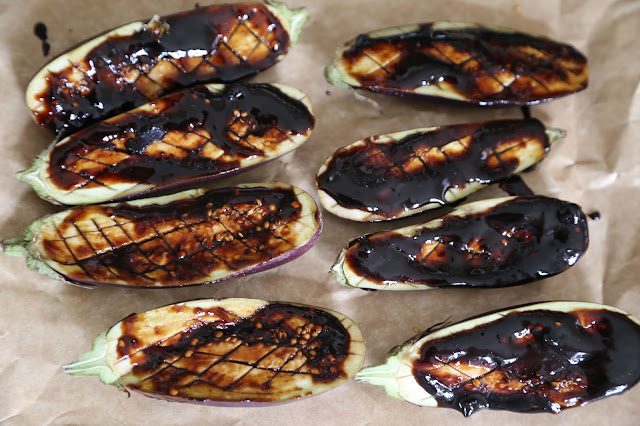 Baby aubergines, basted with miso sauce recipe