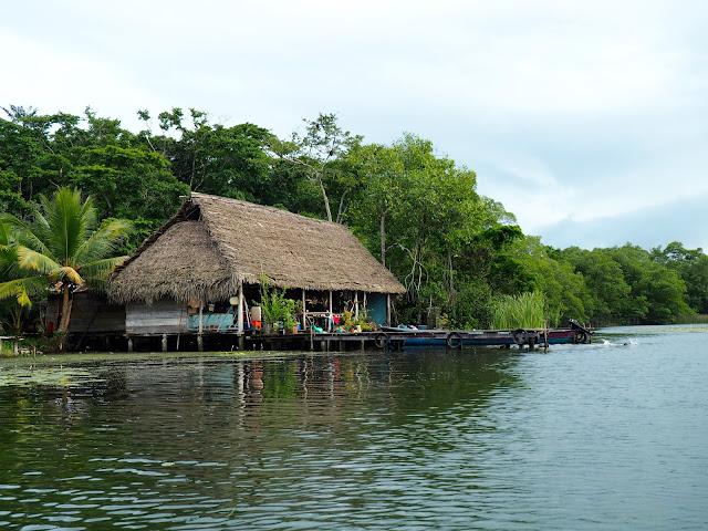 Local stilt houses on Lake Izabal, Guatemala