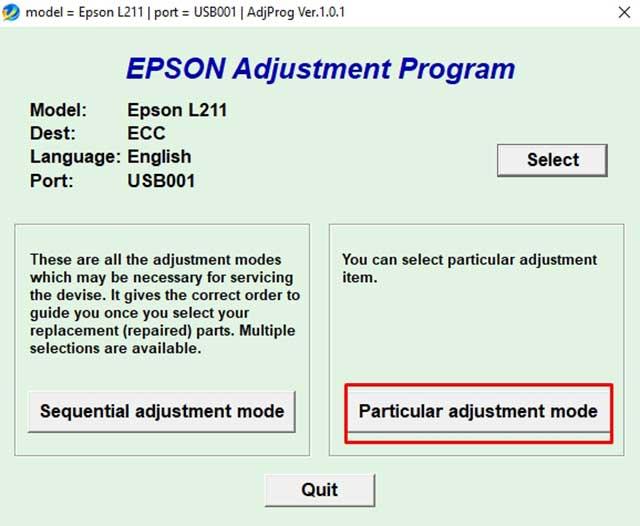 Particular adjustment mode epson L211
