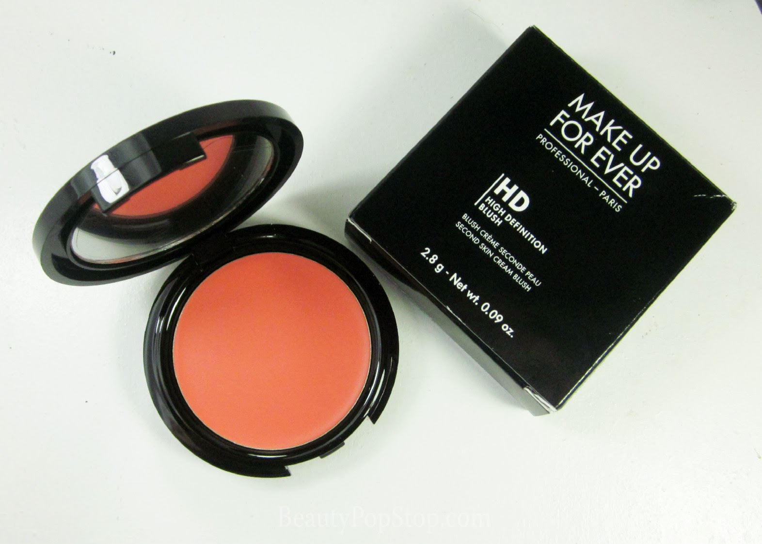 new make up for ever hd blush 410 coral swatch and review