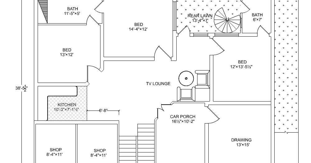 10 marla beautiful house drawing with detail 50x38 house plan