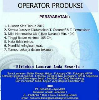 Lowongan kerja operator produksi PT Sebastian Jaya Metal