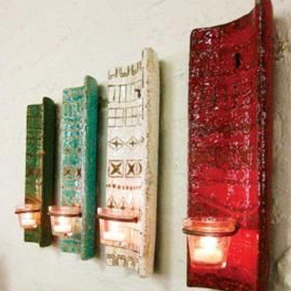 DIY πολύ ιδιαίτερα Κηροπήγια - Φωτιστικά  από Κεραμίδια