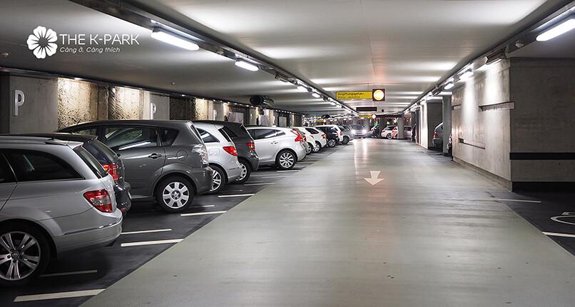 Tầng hầm để ô tô tại chung cư The K-Park Văn Phú Hà Đông
