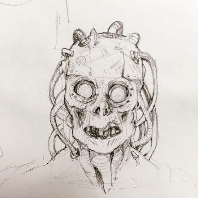 shrike pencil sketch from mortal engines