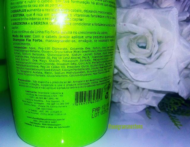 Shampoo Fio Forte composição Shambelle Nutriminas