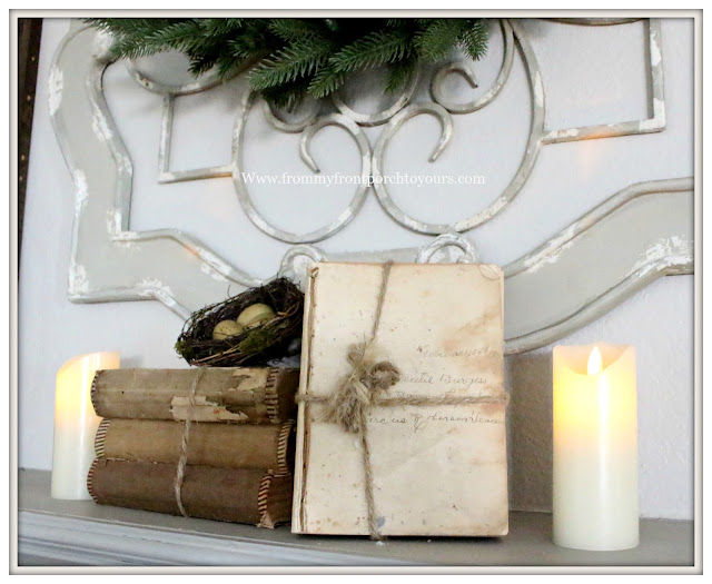 Winter Mantel-French Country-Farmhouse-Old Books-Vignette-Vintage-From My Front Porch To Yours