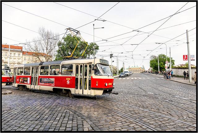 DPP Tram 8394 leaving the Malostranská Tram Stop in Prague.