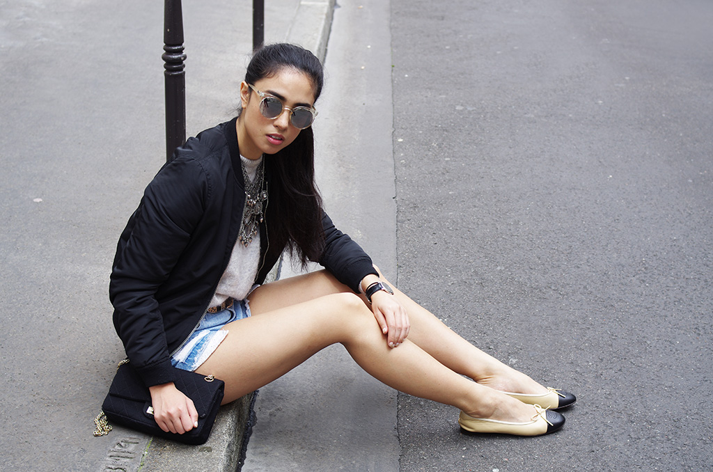 Elizabeth l Denim shorts outfit post l Forever21 Quay Australia sunglasses Chanel shoes bag l THEDEETSONE l http://thedeetsone.blogspot.fr
