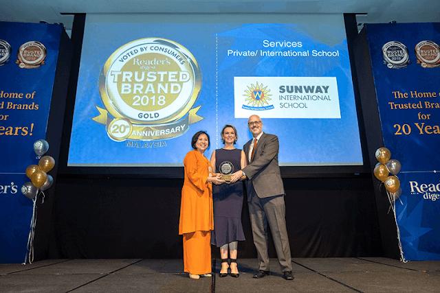 Sunway International School, Reader's Digest Trusted Brand Award 2018,