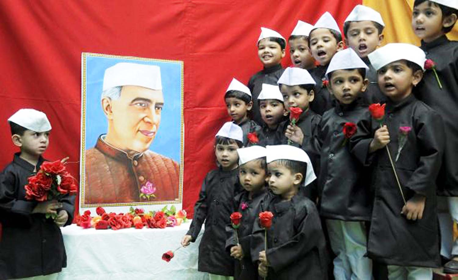 children's day images with nehru