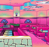 8-bit graphic depicting empty diner with booths in pink, yellow, and blue