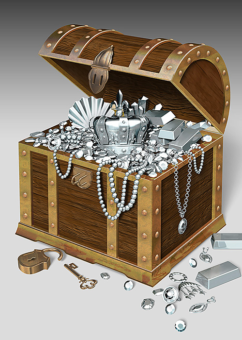 リアルイラスト、3DCG、宝箱、宝石、王冠、財宝、クロム