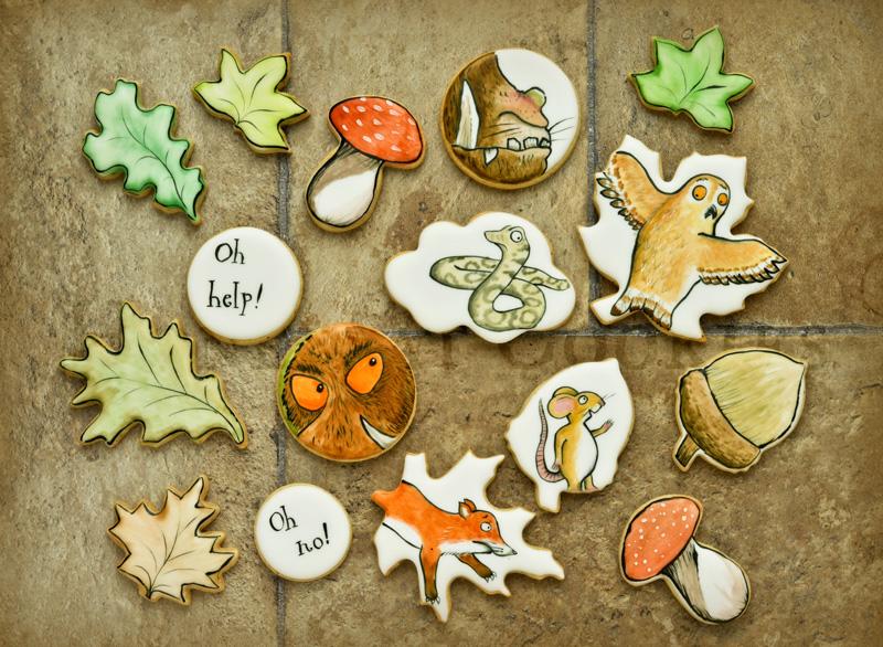 Gruffalo themed handpainted decorated sugar cookies.