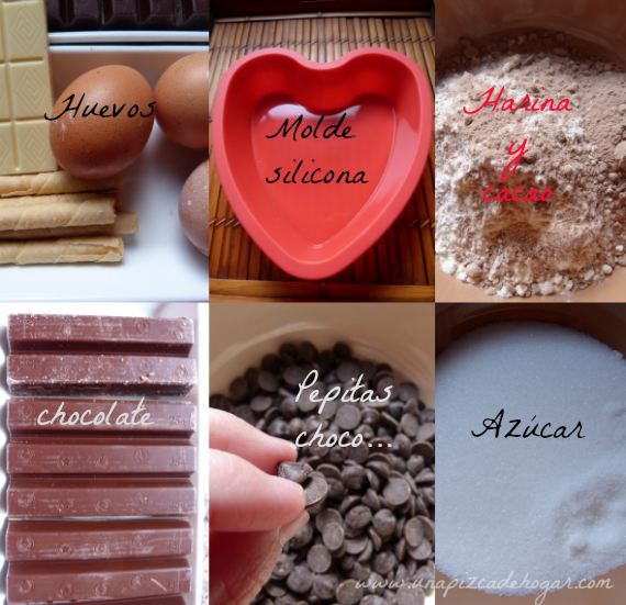ingredientes-paso paso- bizcocho chocolate. Love