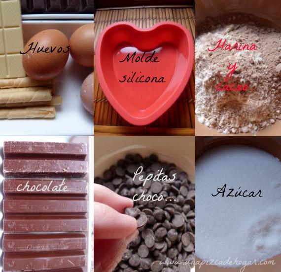 ingredientes-paso paso- bizcocho chocolate. Love