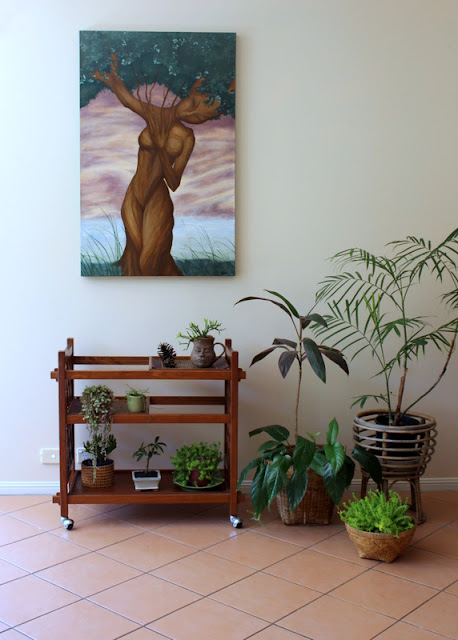 indoor plants on vintage bar cart home decor. sheandmeblog