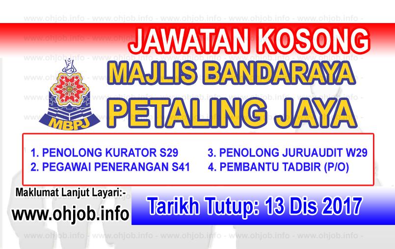 Jawatan Kerja Kosong MBPJ - Majlis Bandaraya Petaling Jaya logo www.ohjob.info disember 2017