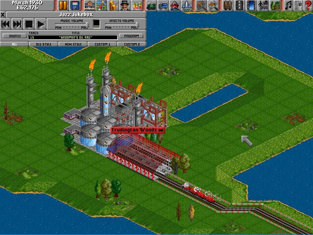 Screenshot of oil refinery in Transport Tycoon