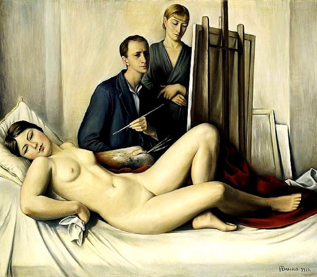 Francois Barraud - seduta di posa - erotismo - pittura - sex art