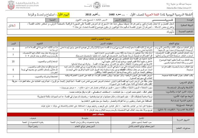 الخطة الدرسية اليومية لمادة اللغة العربية  للصف الاول الفصل الاول 2018-2019