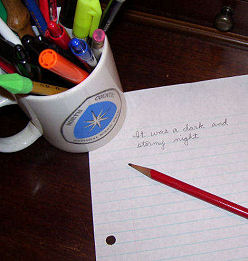 pencil cup and paper