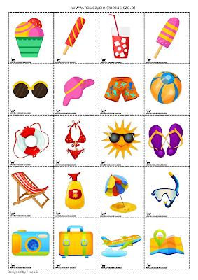 Lato wakacje pomoce dydaktyczne darmowe dla dzieci PRzedszkole