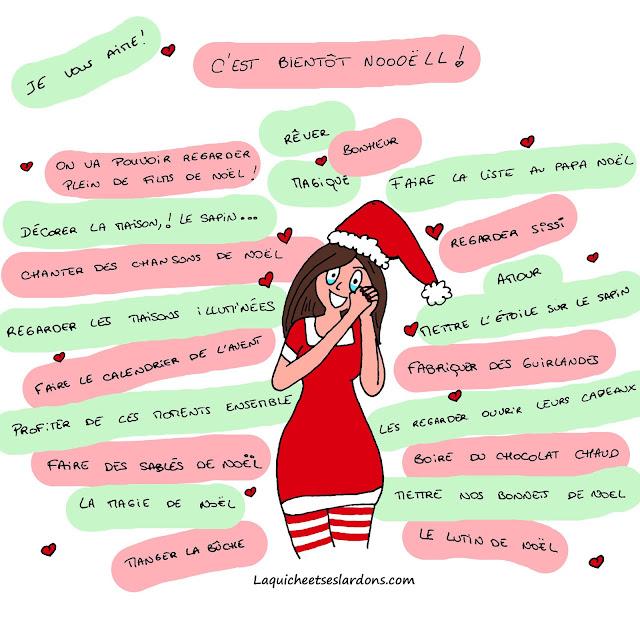 Dessin image illustration Noël magie impatiente maman mère Noël la quiche et ses lardons