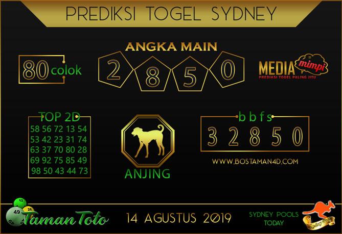 Prediksi Togel SYDNEY TAMAN TOTO 14 AGUSTUS 2019