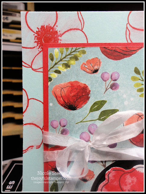 Technique tip: use blender pen to fill in stamped background | Stampin' Up!'s Painted Poppies used here | by Nicole Steele The Joyful Stamper