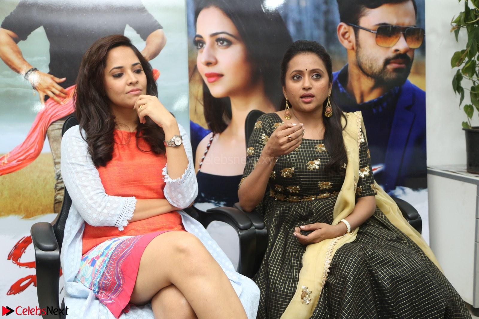 Actress Suma in Black Salwar Suit and Anasuya Bharadwaj in orange Dress at winner movie press meet Part 2