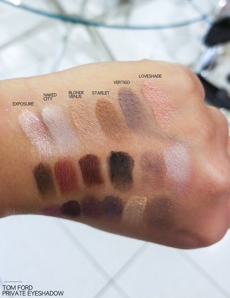 Tom Ford Makeup - Private Eyeshadow Singles - Swatches - Exposure - Naked City - Blonde Venus - Starlet - Vertigo - Loveshade
