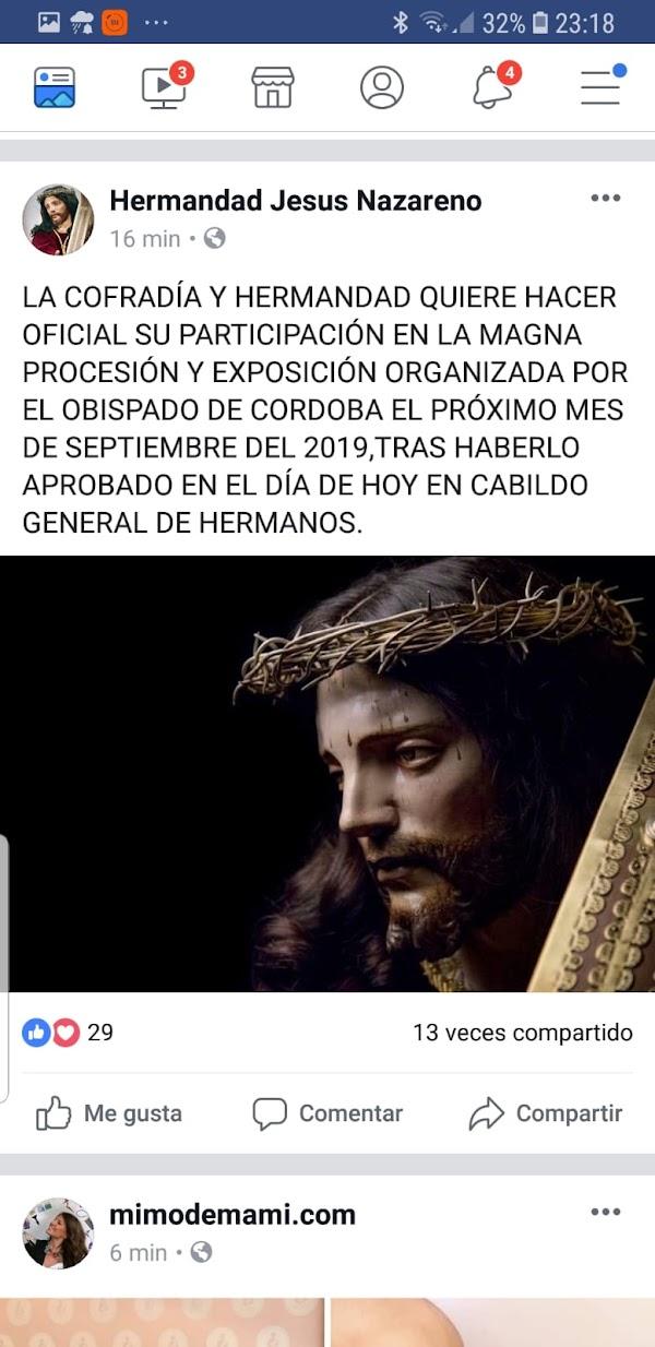 El Nazareno de Priego de Córdoba irá a la Magna Procesión y Exposición de Córdoba
