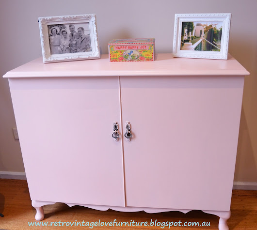 Vintage Record Player Cabinet Painted Pink!