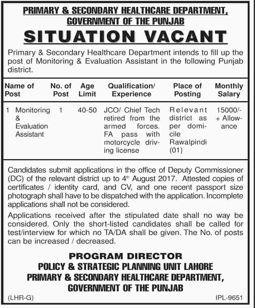 Monitoring & Evaluation Assistant Jobs In Primary And Secondary Healthcare Department Punjab 25 July 2017