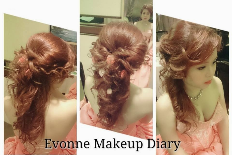 messy half up hair pink flower dress curls