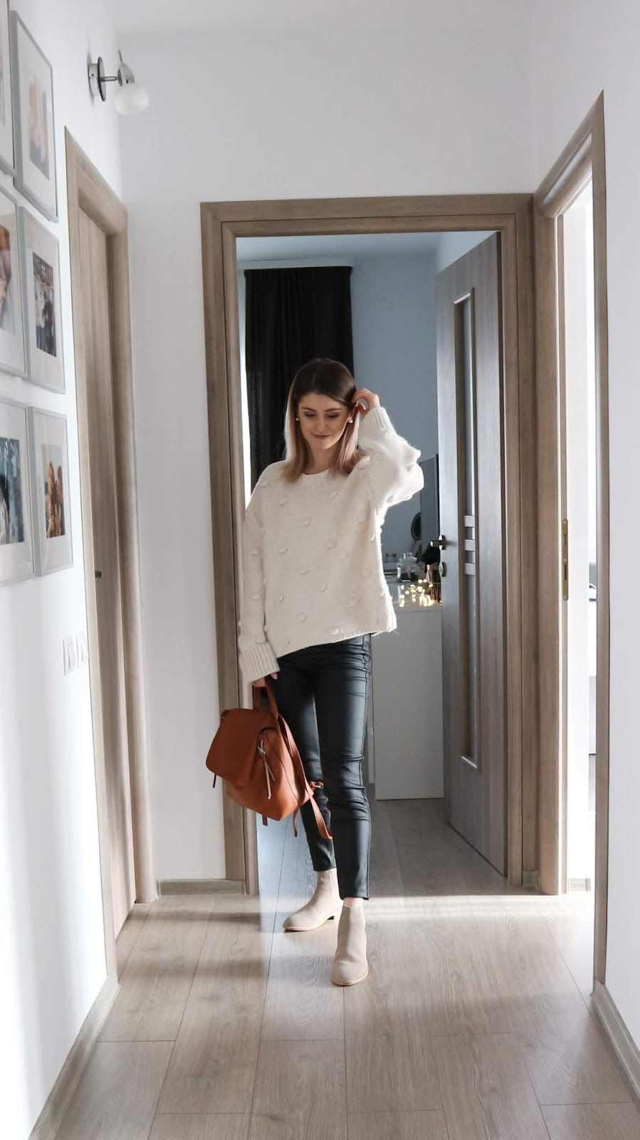 Zara knit pompom jumper with coated jeans