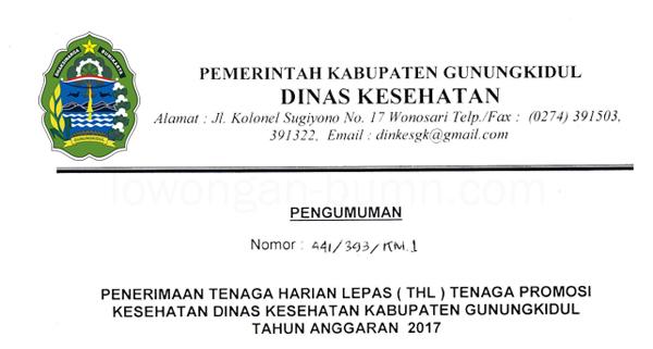 Lowongan Kerja THL Non CPNS Dinas Kesehatan Kabupaten Gunungkidul 2017
