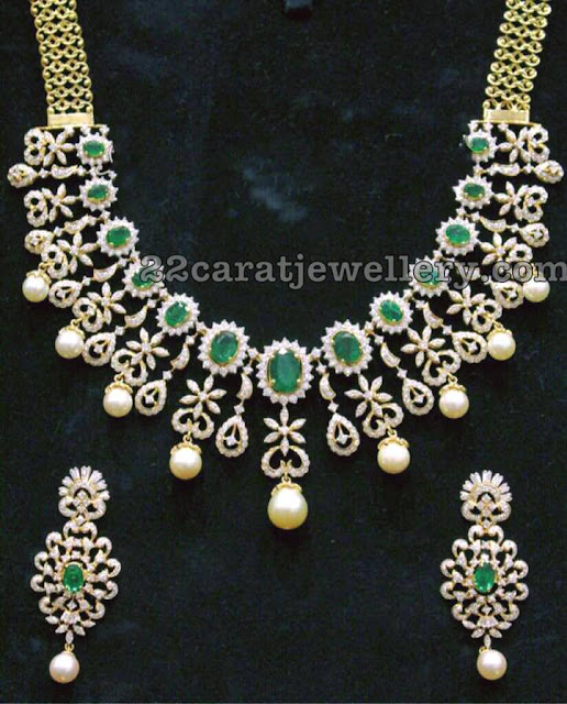 Diamond Emerald Floral Set 8 lakhs