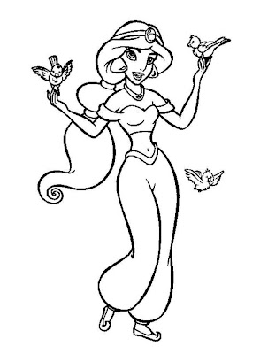 Disney Printable Princess Jasmine Long Hair Coloring Pages