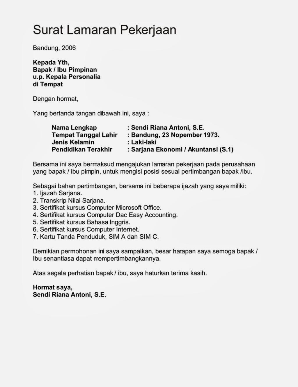 Contoh Surat Lamaran Kerja Bahasa Inggris Di Hotel Bagian Housekeeping Info Seputar Kerjaan