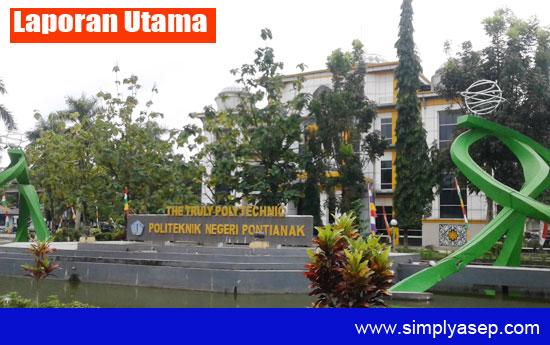 MEGAH : Gedung Politeknik Negeri Pontianak tampak dari depan diambil gambarnya hari Senin (4/9). Foto Asep Haryono