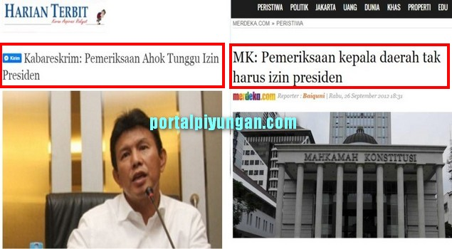 Kabareskrim: Pemeriksaan Ahok Tunggu Izin Presiden; MK: Pemeriksaan Kepala Daerah tak Harus Izin Presiden