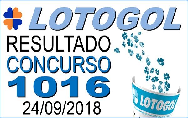 Resultado da Lotogol concurso 1016 de 24/09/2018 (Imagem: Informe Notícias)