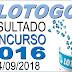 Resultado da Lotogol concurso 1016 (24/09/2018)