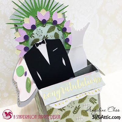 SVG Attic: Blooming Wedding Wishes card with Angeline #svgattic #scrappyscrappy #beautifulbloom #classicwedding #wedding #boxcard #weddingcard #flowers #svg #cutfile #card #cardmaking #papercraft