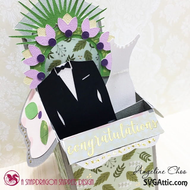 ScrappyScrappy: Blooming Wedding Wishes card with Angeline #svgattic #scrappyscrappy #beautifulbloom #classicwedding #wedding #boxcard #weddingcard #flowers #svg #cutfile #card #cardmaking #papercraft