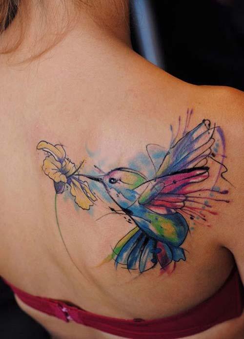 shoulder back cute birdt tattoo arka omuz sevimli kuş dövmesi